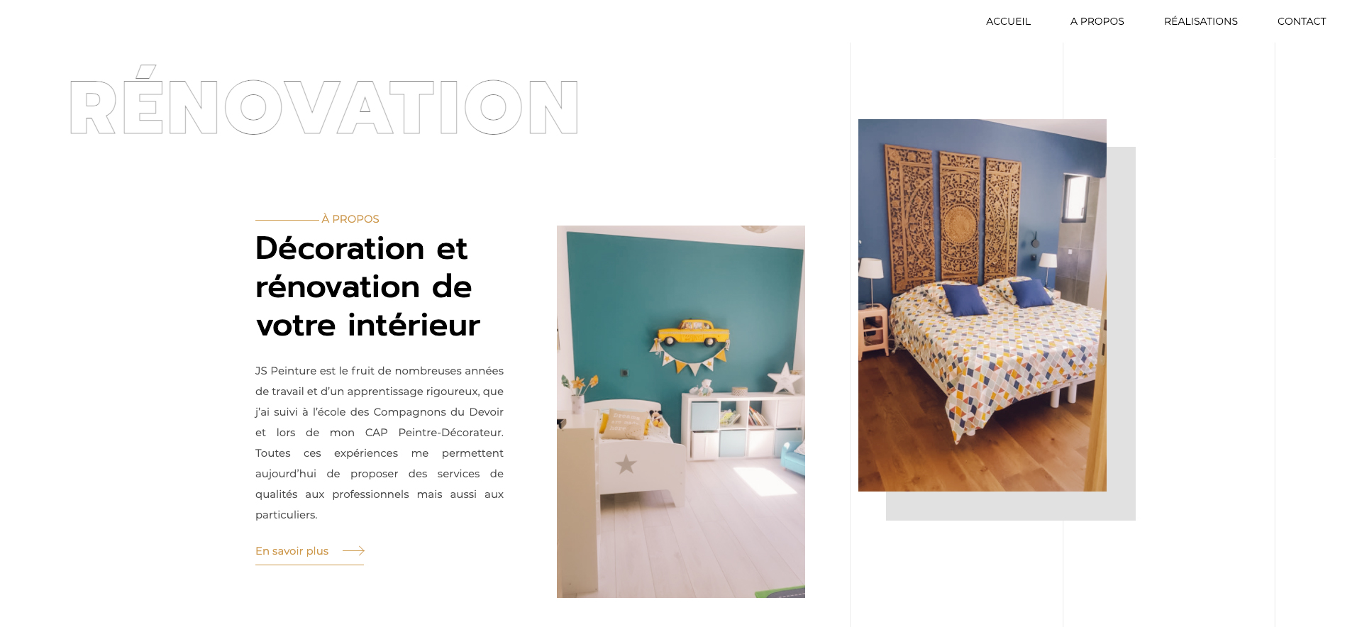 Page accueil JS Peinture - Réalisation site internet à Montpellier